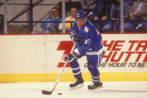 Bryan Fogarty #43 of the Quebec Nordiques skates with the puck during a hockey game against the Washington Capitals on December 17, 1991 at Capitol Centre in Landover, Maryland.